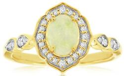 .71ct Diamond And Aaa Opal 14kt Yellow Gold Oval And Round Filigree Flower Fun Ring