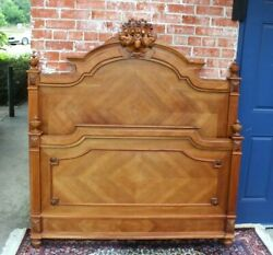 French Antique Carved Walnut Henry Ii Full Size Bed   Bedroom Furniture