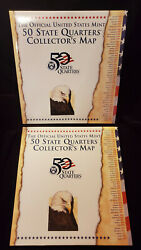 The Official Us Mint 50 State Quarter Collector's Map Pd Quarters Dc Territories