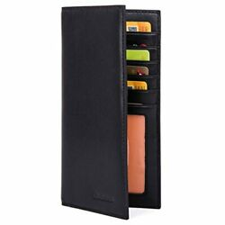 Slim Leather Id/credit Card Holder Long Wallet With Rfid Blocking - Black