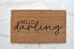 Hello Darling Doormat Porch Decor Welcome Mat Outdoor Rug - 18x30 And 24x36 Sizes