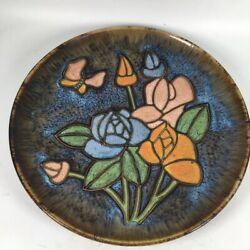 12'' China Jun Kiln Porcelain Plate Flower Butterfly Pig Tray Old Pottery Plate