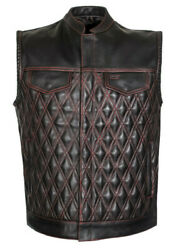 Men Padded Club Style Red Stitched Biker Motorcycle Concealed Carry Leather Vest