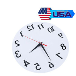 Funky Modern Clock Acrylic Reverse Anti Time Counter Clockwise Wall Round New