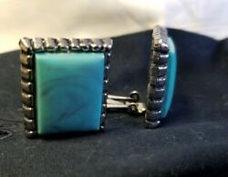 Vintage Marbled Turquoise Color Rectangular Silver Tone Frame Clip On Earrings