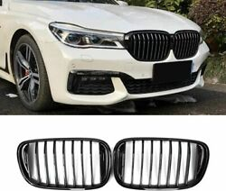 New Pair Of Front Black Gloss Grills / Kidneys For Bmw G11/g12 15-19 Prelci
