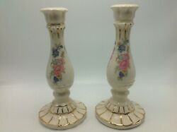 Vintage Pair Candle Sticks Holders Ceramic Pottery Floral Flowers Italy 8.5