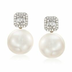 12-14mm Cultured Pearl And .42 Ct. T.w. Diamond Earrings In 18kt White Gold