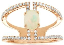 .85ct Diamond And Aaa Opal 14kt Rose Gold Oval And Round Triangular Square Fun Ring