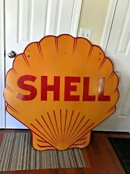 Rare Vintage 1920andrsquos-1940andrsquos Porcelain Shell Service Station Sign - Clamshell 48andrdquo
