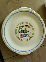 1941 Talor Smith And Taylor - Plymouth Shapefloral Figure Cake Plate