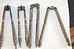 4 Antique Early 1900's Ornate Steel And Silver Plate Nut Crackers