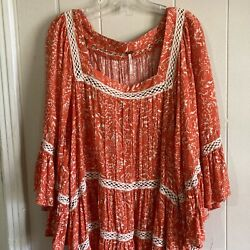 Free People Small Tunic Top Orange Floral Boho Peasant Bell Sleeves Nwt
