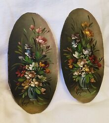 Lot Of 2 - Antique Miniature Paintings Signed. Oil Beautiful Floral Vases