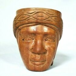 Vtg 1960s Hand Carved Wooden Tribal Tiki Woman Face Mug Stein Solid Wood Carving