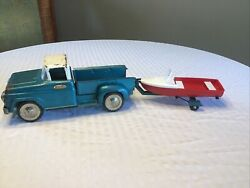 Vintage Tonka Step Side Pickup With Boat And Trailer 1959