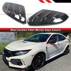 For 2016-21 Honda Civic Real Carbon Fiber Add-on Mu Style Side Mirror Cover Caps