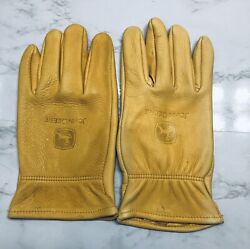 Vintage Jd John Deere Farm Tractor Advertising Butter Leather Work Gloves Xl Nwt