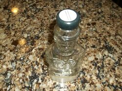 Vintage Glass Lincoln Bank Bottle Antique Abraham With Rare Label Mass Lawrence