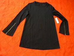 Soft Surroundings Black Knit Tunic With Zipper Sleeves Sz S Nwt