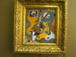 Antique Cubist Abstract Oil On Panel Saxophone Guitar Painting Signed Evans And03936