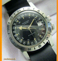 Vintage 1968 Glycine Airman 36mm Ss Case W/hacking Automatic Movement Good Cond