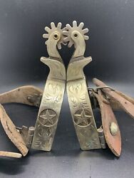 Vintage Silver Etched Inlay Spurs Star Antique Western With Thick Leather Straps