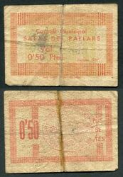 Spain Civil War Room Of Pallars / 50 Cents 1937 / Red Rc 2252
