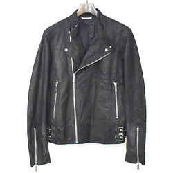 Christian Dior Homme 15ss Stamped Lamb Leather Double Riders Jacket Mens _55181