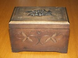 Antique Vintage Thorens Black Forest Carved Wooden Jewellery Music Box