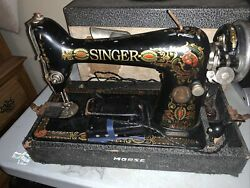 """1920 Antique Singer Model 66"""" Red Eye Portable Sewing Machine Works Great"""