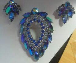 Vintage Signed Sarah Coventry Blue Lagoon Demi-parure Brooch And Earrings