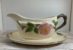 Franciscan Desert Rose Johnson Brothers Gravy/sauce Boat With Plate Floral
