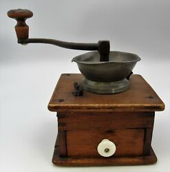 Antique Hand Crank Coffee Grinder Dovetailed Wood Table Top Primitive