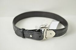 Collection Black Alligator Choker Collar Necklace Made In Italy595
