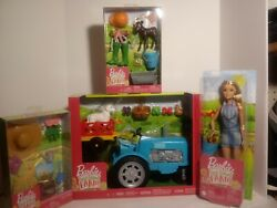 Barbie Sweet Orchard Farm Blue Tractor/ Wagon 2 Animals -fruits And Clothing