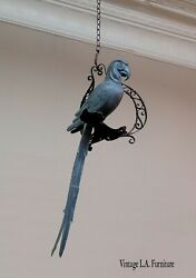 40tall Vintage Brass Patina Parrot Bird Perched On A Rustic Iron Swing