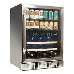 """Newair 24"""" Built-in Dual Zone 20 Bottle And 70 Can Wine And Beverage Fridge"""