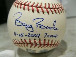Barry Bonds Signed And Inscribed Ml Baseball Signed Bonds Coa Ruth Mantle Mays