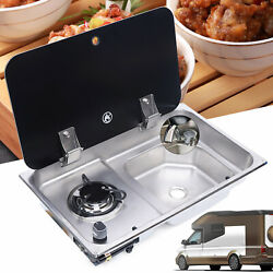 Boat Rv Camper 1 Burner Gas Stove Hob Sink Combo With Glass Lid Faucet Cooktop