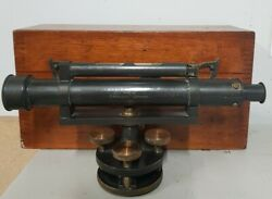 1910 Vintage Brass Stanley Surveying Level Theodolite And Case Collectable