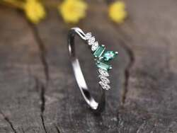 2 Ct Green Emerald And Diamond Art Deco Vintage Band Ring 14k White Gold Finish