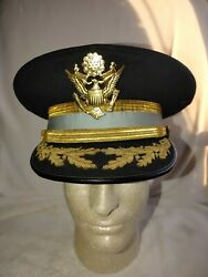 Wwii Ww2 Us Army Infantry Officer Dress Blues Visor Saucer Peaked Hat Cap