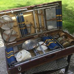 Vintage Picnic Set Table Chairs Utensils Dishes French Suitcase Car Kiss Ply