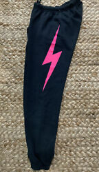 Aviator Nation Sweatpants Med Nwt Charcoal Neon Pink Bolt