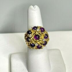 Antique Art Deco 14k Yellow Gold Amethyst And Diamond Dome Ring