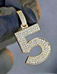 2.91ctw Natural Round Diamond 14k Solid Yellow Gold Number 5 Menand039s Pendant