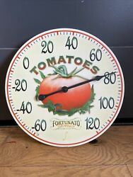 Vintage Tomatoes Sign Thermometer Display Farm Fortunato Seed Company Plastic