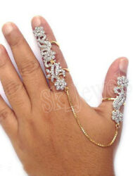 Cyber Monday 3.80c Natural Round Diamond Gold Finger With Thumb Cocktail Ring