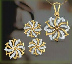 2.70ct Natural Round Diamond 14k Solid Yellow Gold Pendant Ring And Earring Set